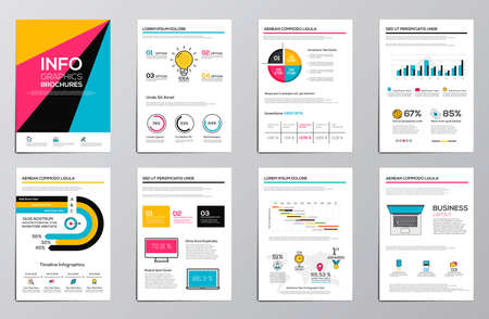 Business infographics elements for corporate brochures. Collection of modern infographic elements in a flyer and brochure concept. Flat and clean design. Vector