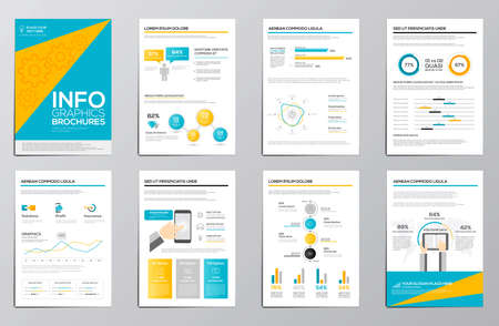 corporate brochure: Business infographics elements for corporate brochures. Collection of modern infographic elements in a flyer and brochure concept. Flat and clean design. Vector