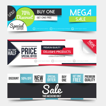 Collection of Sale Discount Styled Banners. Creative website header or banner set with place holder. Vector Çizim