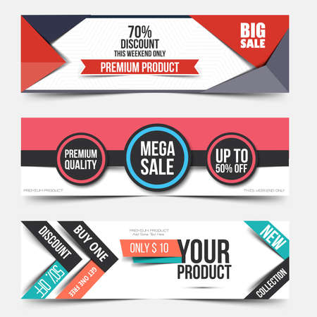 website banner: Collection of Sale Discount Styled Banners. Creative website header or banner set with place holder. Vector Illustration