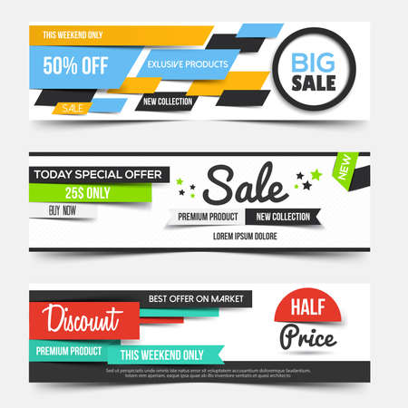Collection of Sale Discount Styled Banners. Creative website header or banner set with place holder. Vector Ilustracja