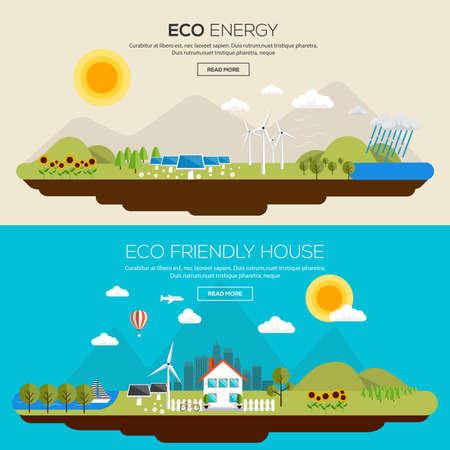 přátelský: Byt navržen Bannery koncept Eko energie ekologicky šetrné dům. Ikony kolekce položek a prvků Creative Work Flow. Vektor