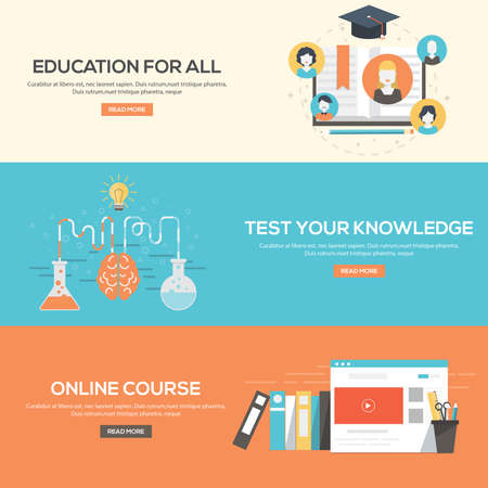 web courses: Flat design concepts for education for all,online courses and test your knowledge. Concepts for web banners and promotional materials.Vectors