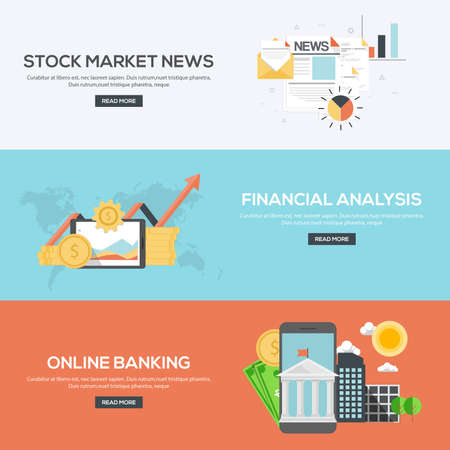 mobile banking: Flat Designed Banners Concept of Stock market news, Financial analysis and online banking. Icons Collection of Creative Work Flow Items and Elements. Vector