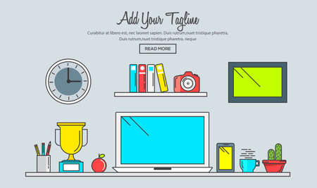 coder: Line flat design of creative designer workspace, modern office desk with laptop. Modern vector illustration concept