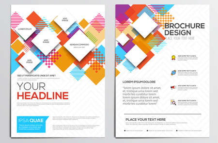 Diseño de plantilla de diseño geométrico abstracto para el folleto revista folleto folleto cubre informe anual de Fondos A4 size.Abstract modernos, Infografía Concept. Ilustración vectorial Ilustración de vector