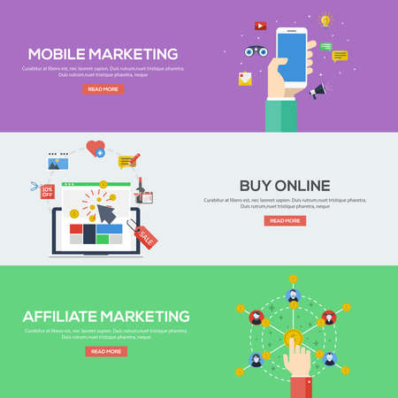Flat design concepts for mobile marketing, buy online and affiliate marketing. Concepts for web banners and promotional materials.Vectors