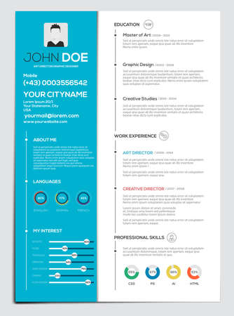 Flat Resume with Infographics. Resume cv set. Vector  イラスト・ベクター素材