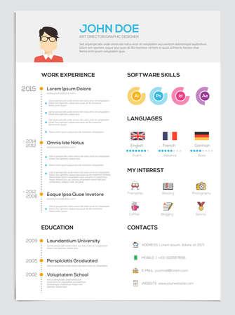 Flat hervatten met Infographics. Hervat cv set. Vector Stock Illustratie