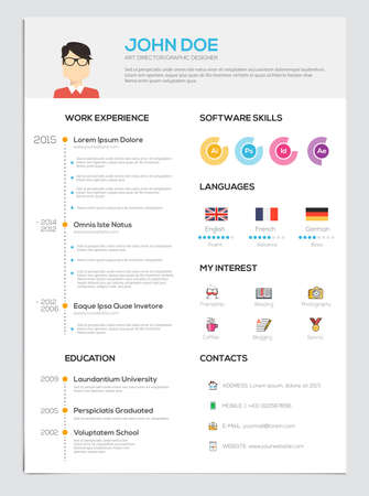 Flat Resume with Infographics. Resume cv set. Vector Çizim