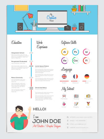 Flat Resume with Infographics. Resume cv set. Vector Illustration