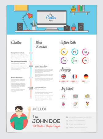 Flat Resume with Infographics. Resume cv set. Vector Illustration