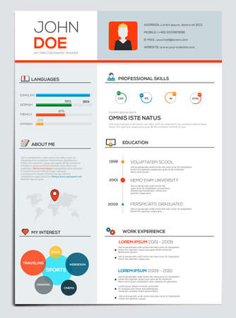 icon red: Flat Resume with Infographics. Resume cv set. Vector Illustration