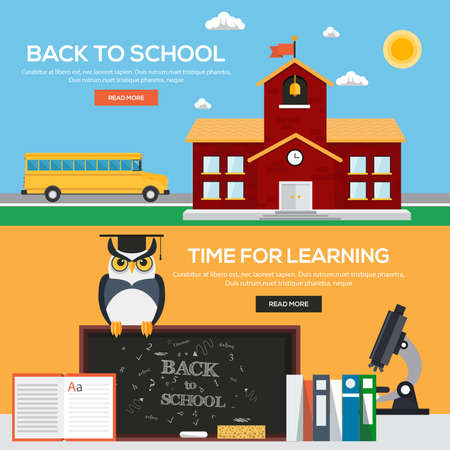 pen on paper: Flat back to school banners concept. Icons Collection of Creative Work Flow Items and Elements. Vector