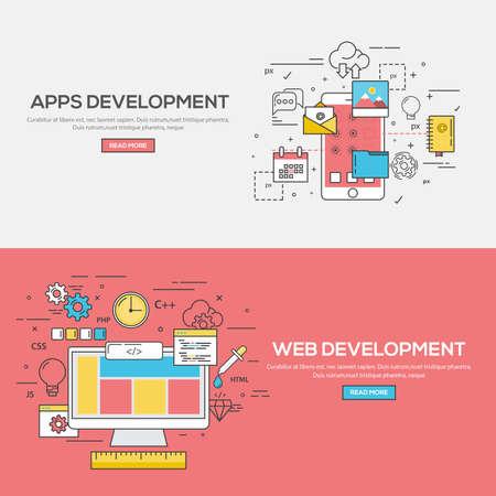 애플리케이션 개발 및 웹 개발 플랫 선 색상 배너 디자인 컨셉 설정합니다. 개념 웹 배너 및 인쇄 materials.Vector
