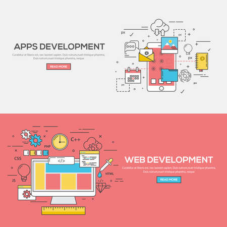 mobile application: Set of Flat Line Color Banners Design Concept for Apps Development and Web Development. Concepts web banner and printed materials.Vector Illustration