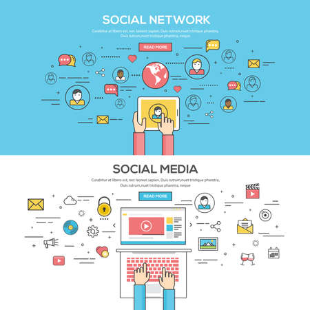 social network service: Set of Flat Line Color Banners Design Concept for Social Network and Social Media. Concepts web banner and printed materials.Vector Illustration
