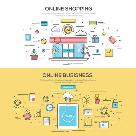 온라인 쇼핑과 온라인 비즈니스 플랫 선 색상 배너 디자인 개념을 설정합니다. 개념 웹 배너 및 인쇄 materials.Vector 일러스트