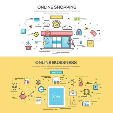conceito: Jogo do Plano Color Line Banners Design Concept para compras on-line e de Negócios Online. Conceitos web banner e materials.Vector impresso Ilustração