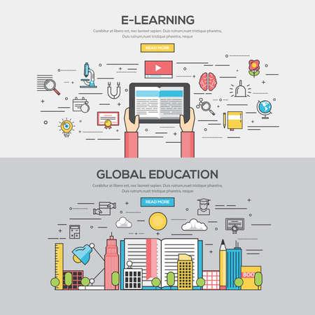 コンセプト: E ラーニングとグローバル ・ エデュケーションのフラット ライン色のバナー デザイン概念のセットです。概念、web バナーや印刷物。ベクトル