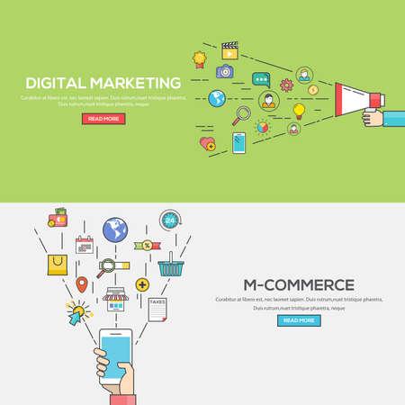 디지털 마케팅 및 M 상거래에 대한 평면 선 색상 배너 디자인 개념의 집합입니다. 개념 웹 배너 및 인쇄 materials.Vector