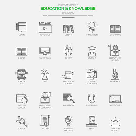 Flat Line Modern icons for Education and Knowledge. Vector Vettoriali