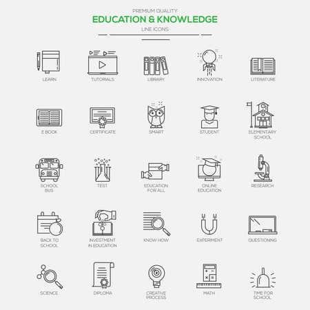icono ordenador: Piso iconos Línea modernos para la Educación y el Conocimiento. Vector