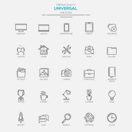 Flat Line Modern Universal icons. Vector