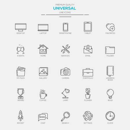 Flat Line Modern Universal icons. Vector