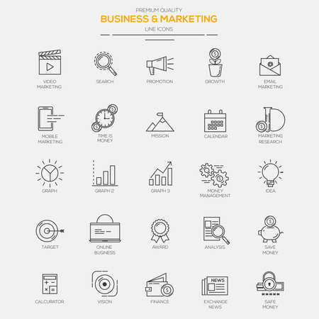 Flat Line Modern icons for Business and Marketing. Vector
