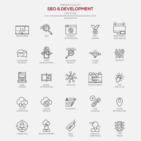 Seo と開発のフラット ライン モダンなアイコン。ベクトル