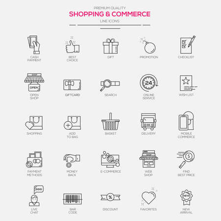 Flat Line Modern icons for Shopping and Commerce. Vector Illustration