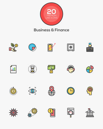 mobile banking: Set of Flat Line Color Business and Finance icons. Vector