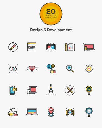 Conjunto de Flat Line Color Design y los iconos de Desarrollo. Vector Foto de archivo - 44483409