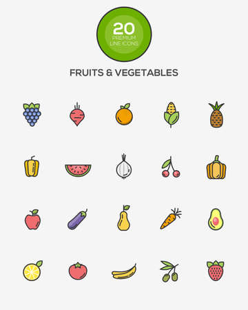 green lines: Set of Flat Line Color Fruits and Vegetables icons. Vector