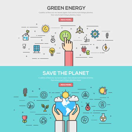 녹색 에너지 플랫 선 색상 배너 디자인 개념을 설정하고 지구를 저장합니다. 개념 웹 배너 및 인쇄 materials.Vector