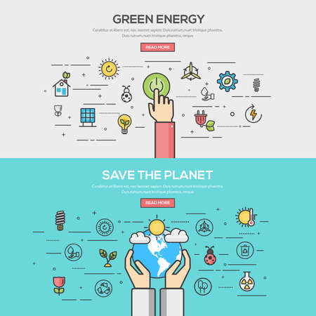 Set of Flat Line Color Banners Design Concept for green energy and save the planet. Concepts web banner and printed materials.Vector
