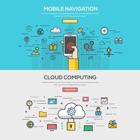 コンセプト: モバイル ナビゲーションとクラウドの平らな線色バナー デザイン コンセプトのセットを計算します。概念、web バナーや印刷物。ベクトル  イラスト・ベクター素材