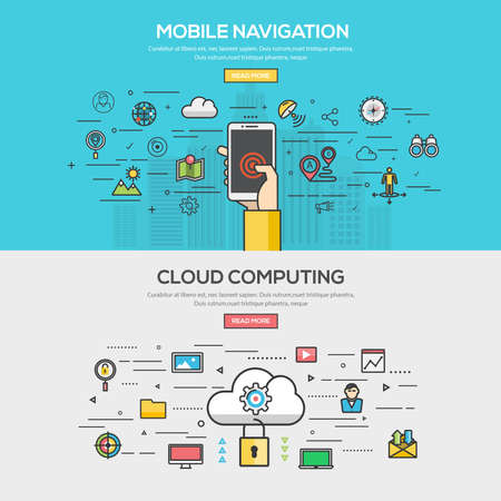 Set van Flat Line Color Banner Design Concept voor mobiele navigatie en Cloud Computing. Concepten web banner en gedrukte materials.Vector Stock Illustratie