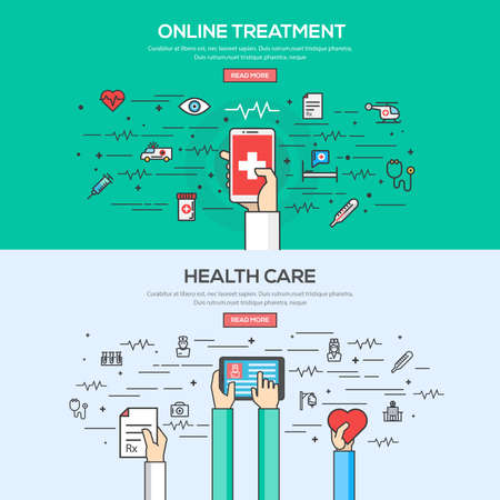 온라인 치료 및 건강 관리를위한 플랫 선 색상 배너 디자인 개념을 설정합니다. 개념 웹 배너 및 인쇄 materials.Vector
