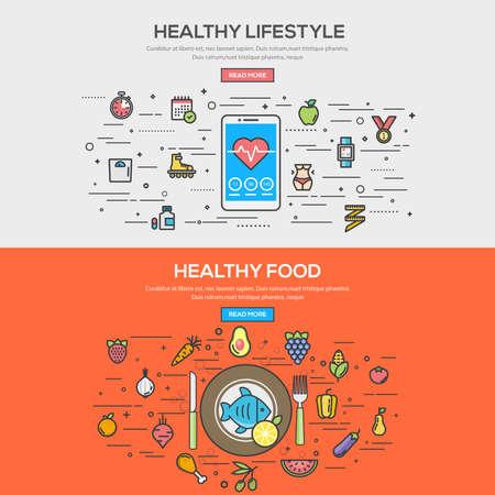 健康的なライフ スタイルと健康食品のフラット ライン色バナー デザイン概念のセットです。概念、web バナーや印刷物。ベクトル  イラスト・ベクター素材
