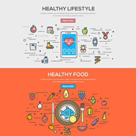 건강한 라이프 스타일과 건강 식품 플랫 선 색상 배너 디자인 개념을 설정합니다. 개념 웹 배너 및 인쇄 materials.Vector 일러스트