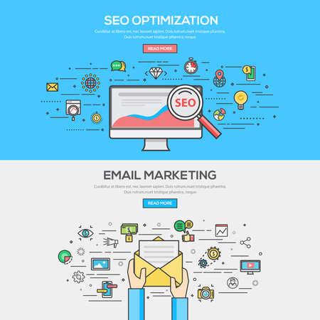 концепция: Набор плоская линия цветной баннер дизайн Концепции SEO оптимизация и электронный маркетинг. Концепции веб-баннера и распечатать materials.Vector