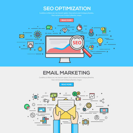 Set of Flat Line Color Banner Design Concept for SEO Optimization and Email Marketing. Concepts web banner and printed materials.Vector