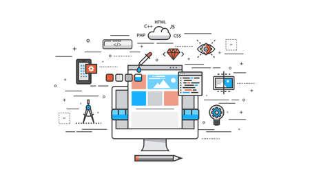 Dunne lijn platte ontwerp van de website bouwproces. Moderne vector illustratie concept, geïsoleerd op een witte achtergrond. Stockfoto - 45119321