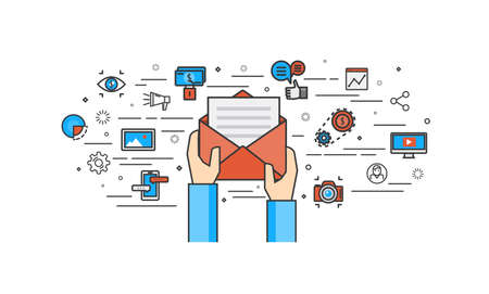 correo electronico: diseño plano delgada línea de comercialización de correo electrónico. Moderno concepto de ilustración vectorial, aislados en fondo blanco.