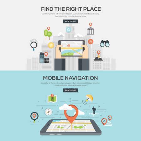 コンセプト: フラットは、適切な場所とモバイル ナビゲーション検索のイラストをデザインしました。概念、web バナーや印刷物。ベクトル