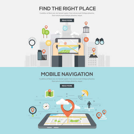 Flat designed Illustrations for Find the right place and Mobile navigation. Concepts web banner and printed materials.Vector