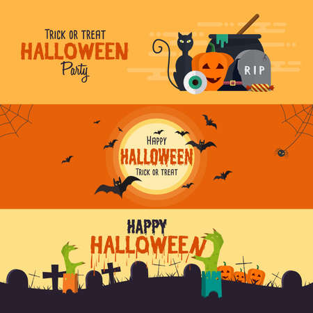 Happy halloween banners. Set of flat designed elements. Vector Illustration Vettoriali