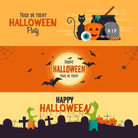 calabazas de halloween: Happy Halloween banners. Conjunto de elementos planos diseñados. Ilustración vectorial Vectores